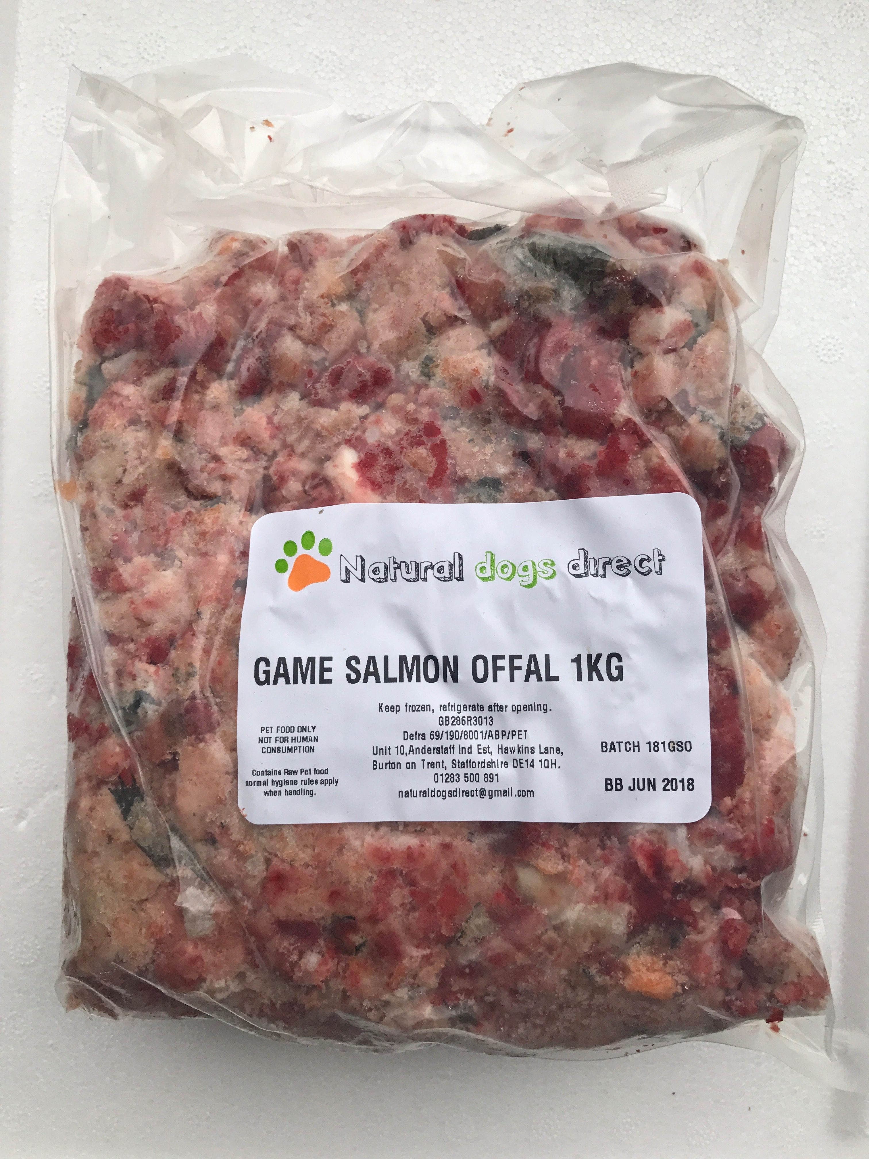 Complete raw game salmon offal mince for dogs 1kg pack for Raw fish for dogs