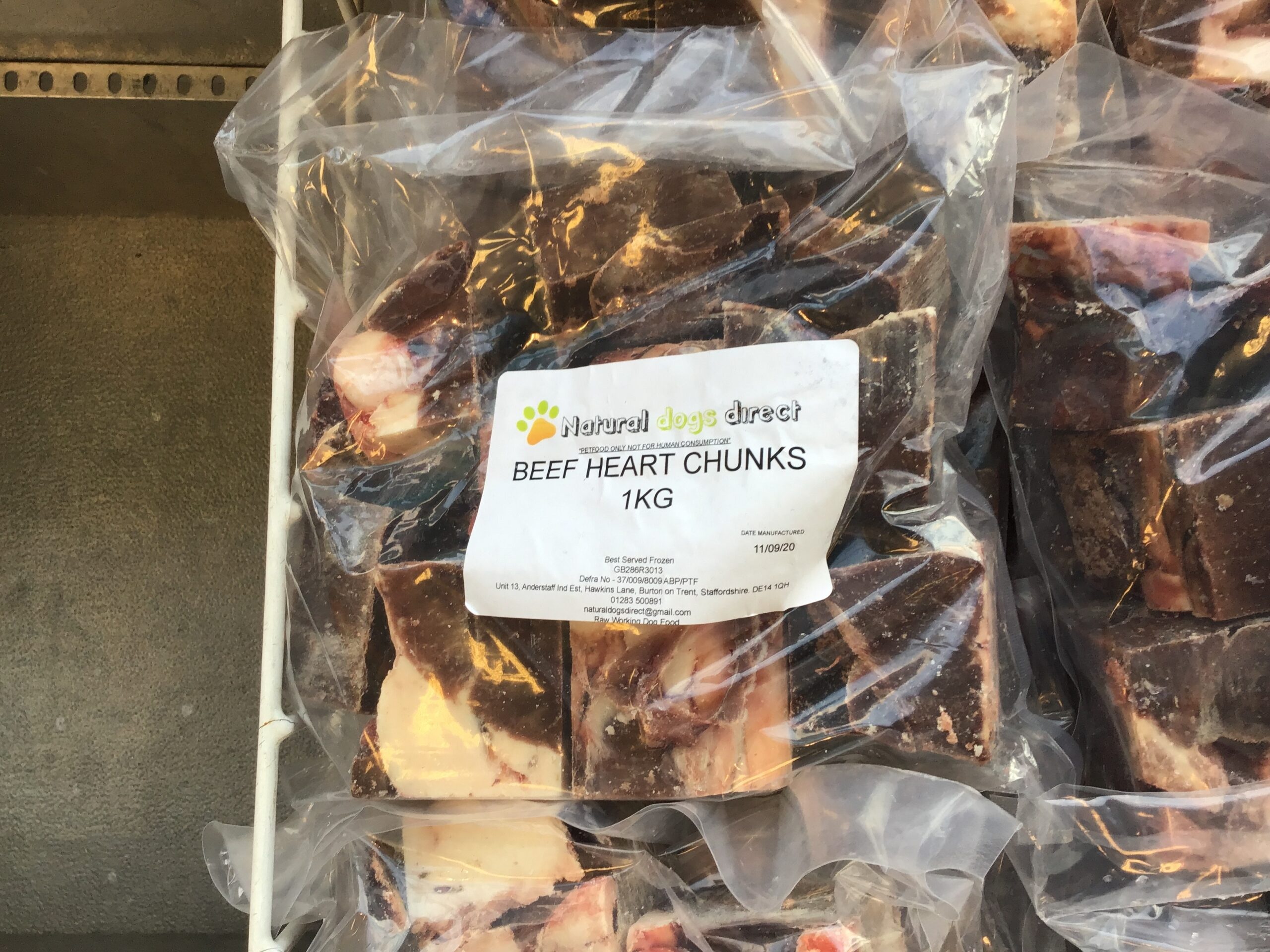 Raw Dog Food Beef Heart Chunks